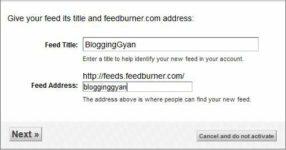 Give Feedburner Address