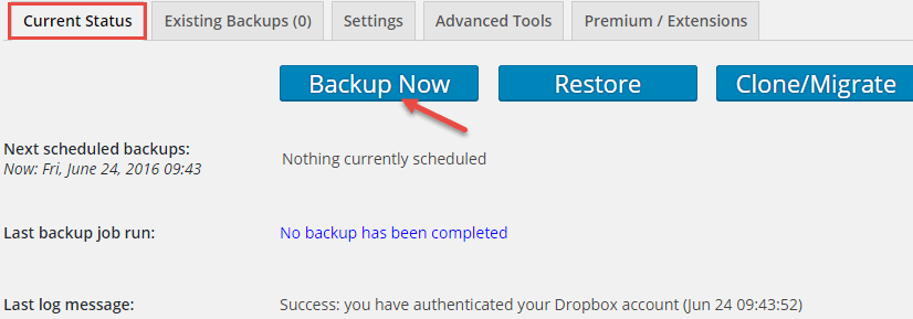 create-backup-updraftplus