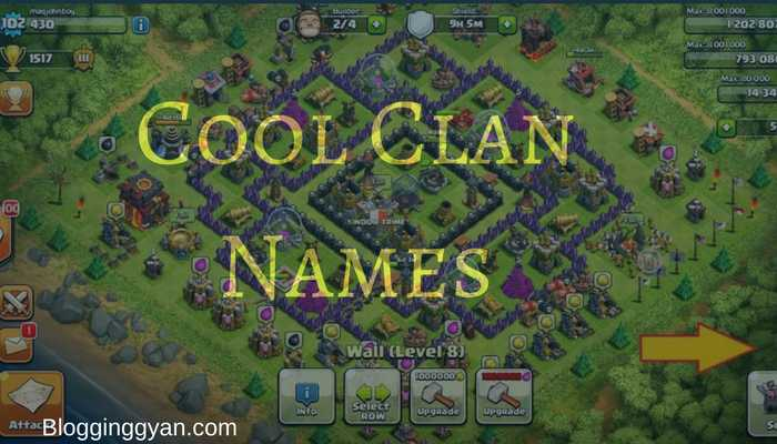 New Awesome Good and Cool Clan Names for COC and COD