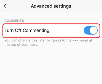 Turn Off Commenting Switch ON kare